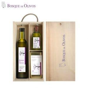 Caja con botellas 750ml 250ml y lata 05 litro aceite oliva virgen extra ecológico