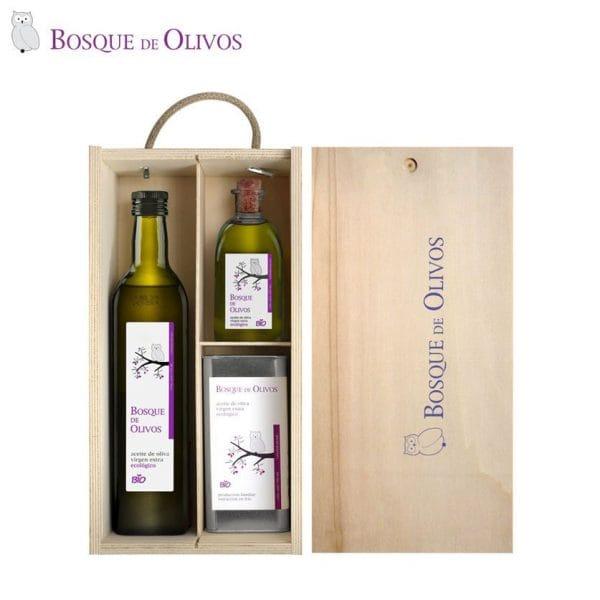 Caja de madera maciza de pino, con botellas 750ml 250ml y lata 05 litro aceite oliva virgen extra ecológico
