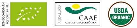 Sellos ECO, CAAE y USDA. Agricultura ecológica en Bosque de Olivos. Cultivamos nuestros olivos preservando y mejorando la biodiversidad. Aceite de oliva ecológico de gran calidad.