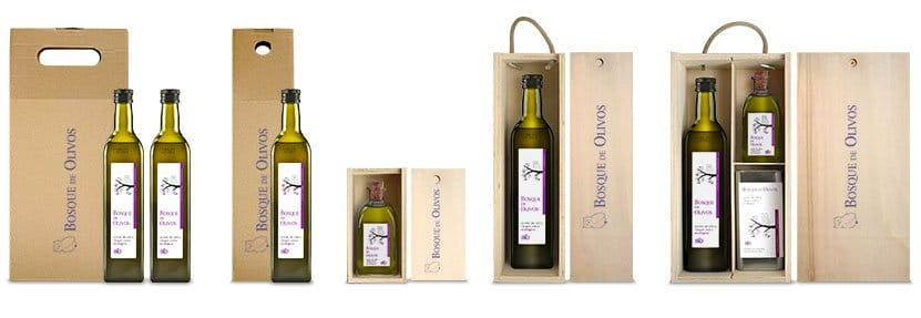 Bosque de Olivos Online Shop. Ecological AOVE bottles and cans to give as a present.